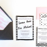 Watercolor polka dot wedding invitations stripe modern retro glitter bellyband – Serena