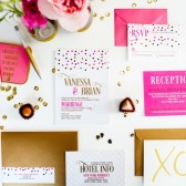 Polka dot modern confetti wedding invitation suite – Vanessa