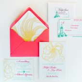 Nautical seaside lighthouse octopus wedding invitations – Bridget Collection