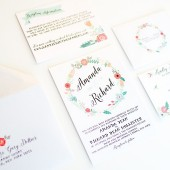 Whimsical rustic floral wreath wedding invitation – Amanda