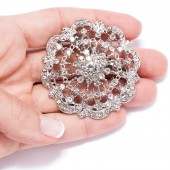 DIAMANTE FLOWER BROOCHES 412