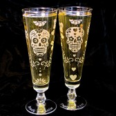 day of the dead wedding glasses, beer flutes