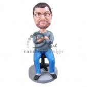 Chubby Manager Sitting on a Stool Custom Bobblehead