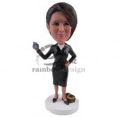 Businesss woman with Cell Custom Bobblehead