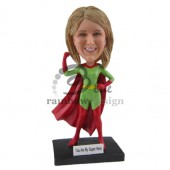 Female Green Super Hero Custom Bobblehead