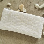 wedding day clutch for bride white lace