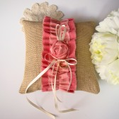 Coral Ombre Burlap Ring Bearer Pillow