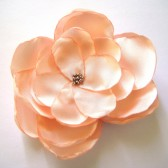 peach rose bloom bridal flower wedding hair comb