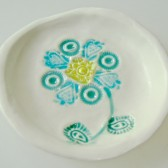 aqua flower ring dish