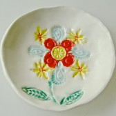 red yellow flower ring dish