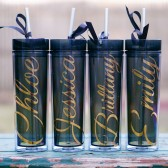 Black bridesmaid tumblers with gold metallic writing