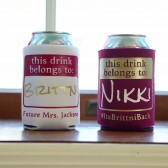 Bachelorette party koozies, this drink belongs to koozie, name tag koozie
