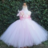 Vintage pink and ivory flower girl tutu dress