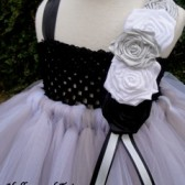 Silver,black and white flower girl tutu dress