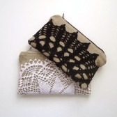 Set of Black and White Vintage Doily Clutches