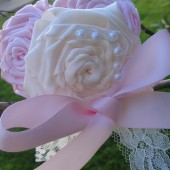 pink&ivory flower girl headband