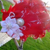 red curly feather flower girl headband