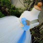 ivory,gold blue flower girl tutu dress