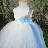 ivory,gold flower girl tutu dress