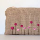 Hand Embroidered Fuchsia Pink Rose Garden Clutch