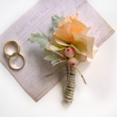 Peach Hydrangea and Berry Boutonniere