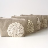 Set of Vintage Doily Cosmetic Pouches