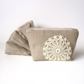 Linen Burlap Makeup Bag and Vintage Doily