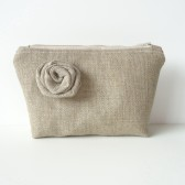 Linen Burlap Makeup Bag and Burlap Flower