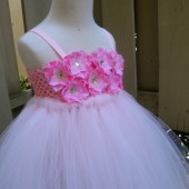 Pink hydrangea flower girl tutu dress