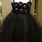 Black hydrangea flower girl tutu dress