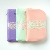 Set of Pastel Wedding Clutches with Vintage Lace