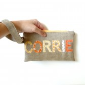 Personalized Wristlet in Orange Vintage Fabrics