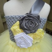 flower girl tut dress in yellow,grey and white