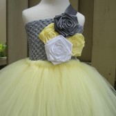 Yellow,grey and white flower girl tutu dress