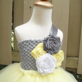 yellow and grey flower girl tutu dress