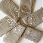 Set of Personalized Burlap Clutches