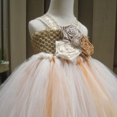 gold champagne flower girl tutu dress