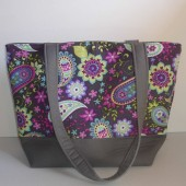 Purple Paisley Cotton Tote Bag