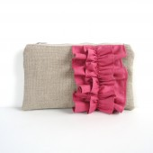 Rose Pink Ruffle Linen Burlap Zipper Clutch