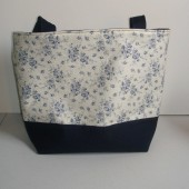 Navy Floral Large Cotton Tote