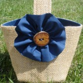 Navy and Burlap Flower Girl Basket