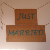 Burlap Just Married Sign