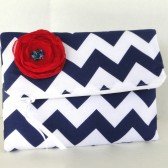Navy Chevron clutch