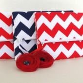 Red Chevron strip bag