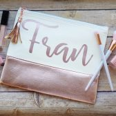 Personalized cosmetic bags, makeup bags, rose gold zippered pouch