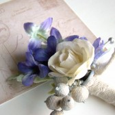 Blue and Ivory Wedding Boutonniere