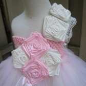 flower girl tutu dress in  pink,ivory and lace