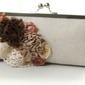 Burlap and lace fabric flower clutch