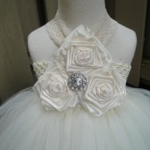 flower girl tutu dress in ivory and lace