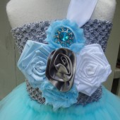 flower girl tutu dress in silver,blue and white